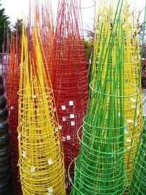 Tomato cages in a rainbow of colors to brighten your garden