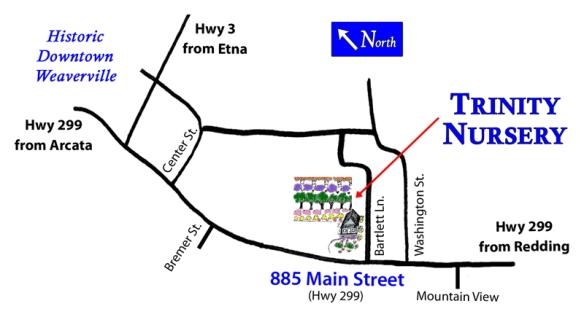 Map to Trinity Nursery, Weaverville