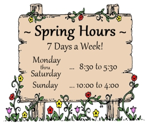 Trinity Nursery Spring Hours
